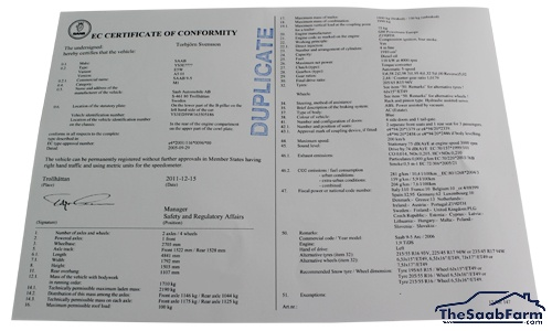 Gelijkvormigheidsattest (COC), Europees Saab 9000 95-, 900 97-, 9-3 -03, 9-5 -10, 9-3 03-, 9-5 10-, Origineel