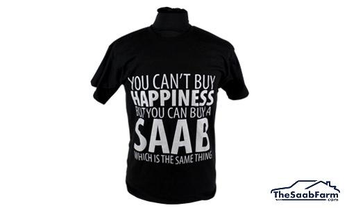T-shirt 'Happiness' Zwart